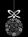 Black and White Hanging Christmas Ornament Made of Snowflakes