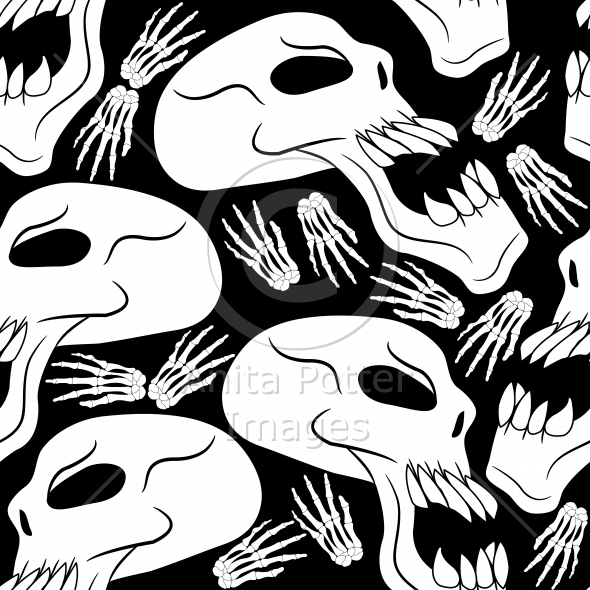 Seamless Halloween Skulls and Skeleton Hands Background