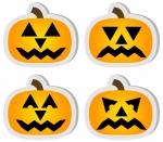 Set of 4 Halloween Jack O'Lantern Stickers