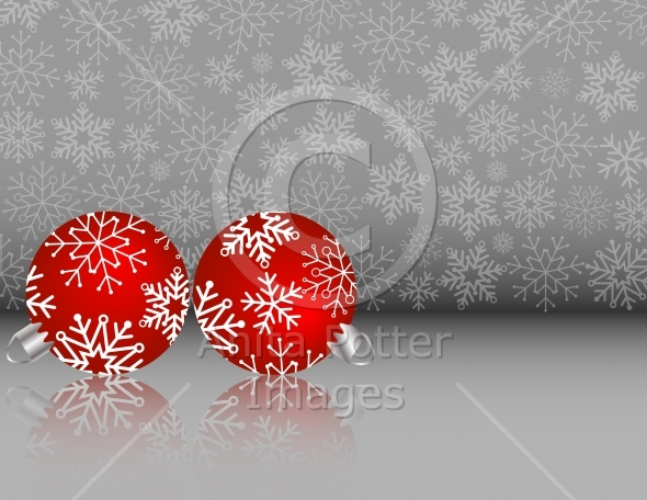 Set of Red Christmas Ornaments on a Silver Snowflake Background