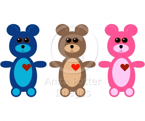 Set of 3 Cute Teddy Bears