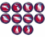 Set of 10 State Buttons Set 3