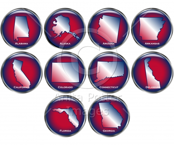 Set of 10 State Buttons Set 1
