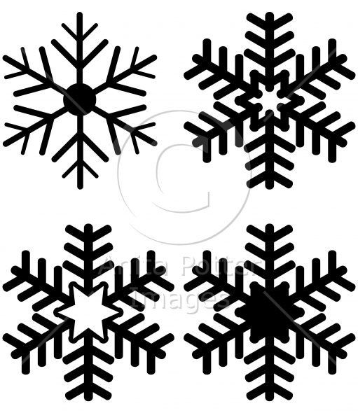 Set of Snowflake Silhouettes
