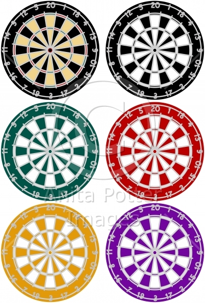 Set of Dartboards in Various Colors