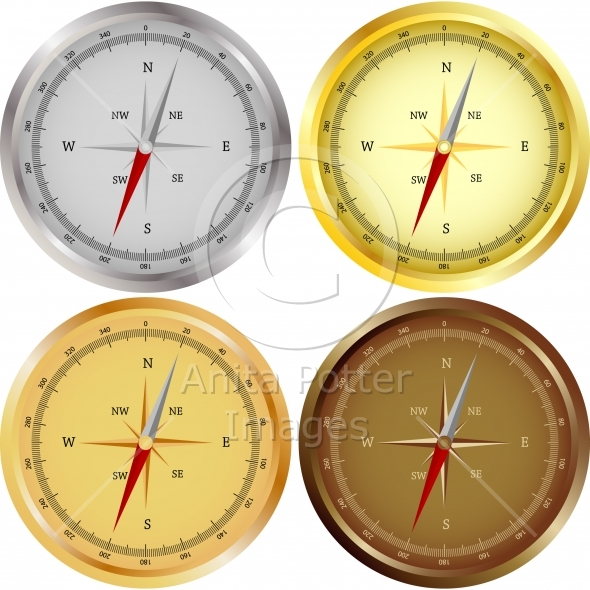 Set of Four Compasses