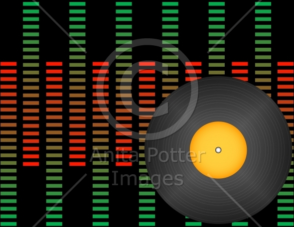 Vinyl Record on a Background of Graphic Equalizers