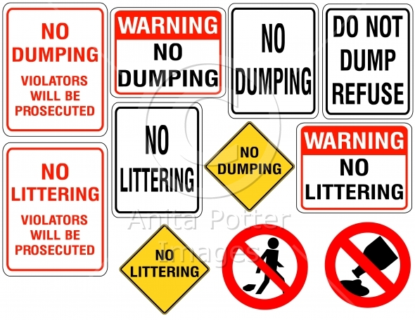 Set of No Dumping or No Littering Signs