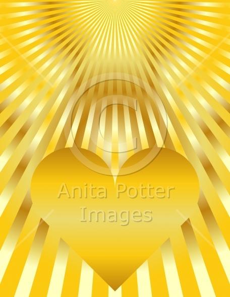 Abstract Golden Heart Sunburst Background