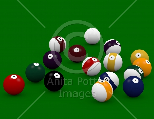 Pool Table Balls Scattered 3d Render of Po...
