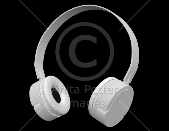 3d Render of White Headphones Isolated on Black