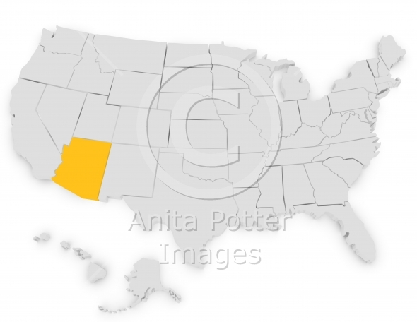 3d Render of the United States Arizona