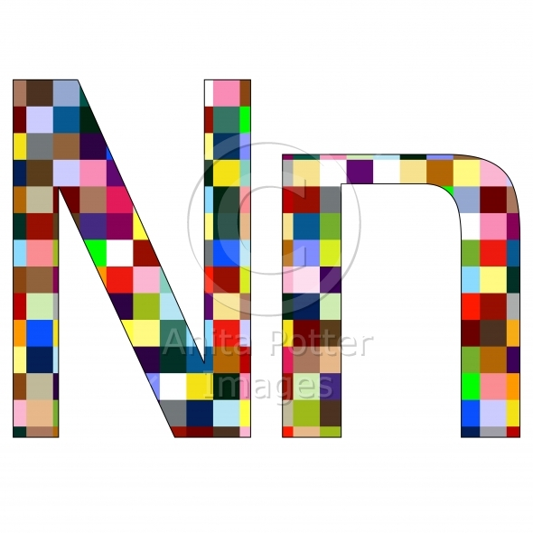 Font Set 1 Letter N Isolated on White