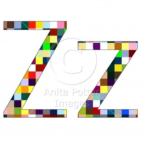 Font Set 1 Letter Z Isolated on White