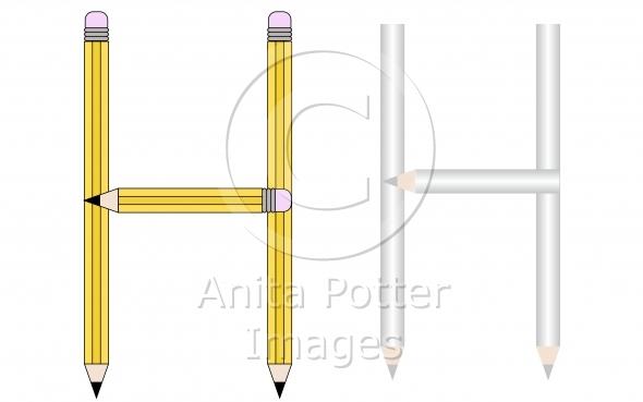 Pencils and Colored Pencils Font Set Letter H