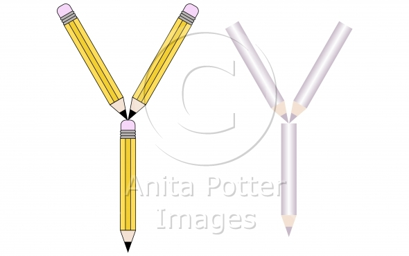 Pencils and Colored Pencils Font Set Letter Y