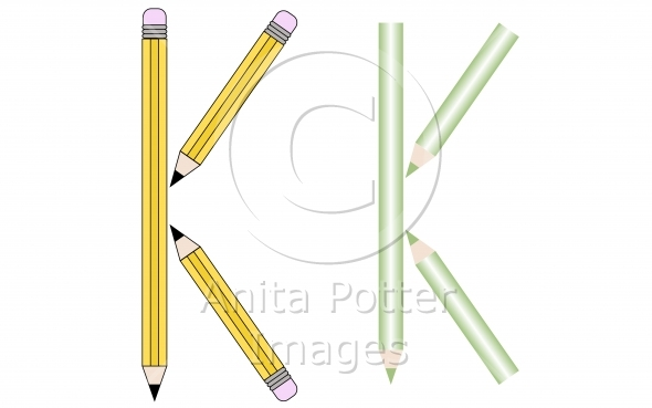Pencils and Colored Pencils Font Set Letter K