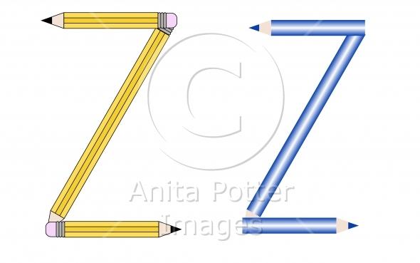 Pencils and Colored Pencils Font Set Letter Z