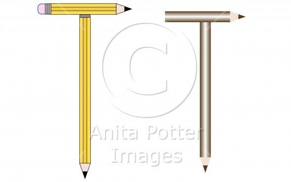 Pencils and Colored Pencils Font Set Letter T