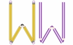 Pencils and Colored Pencils Font Set Letter W
