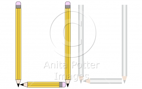 Pencils and Colored Pencils Font Set Letter U