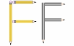 Pencils and Colored Pencils Font Set Letter F