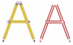 Pencil and Colored Pencil Font Set Letter A