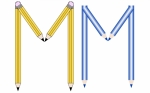 Pencils and Colored Pencils Font Set Letter M
