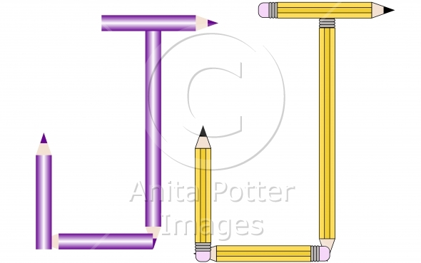 Pencils and Colored Pencils Font Set Letter J