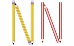 Pencils and Colored Pencils Font Set Letter N