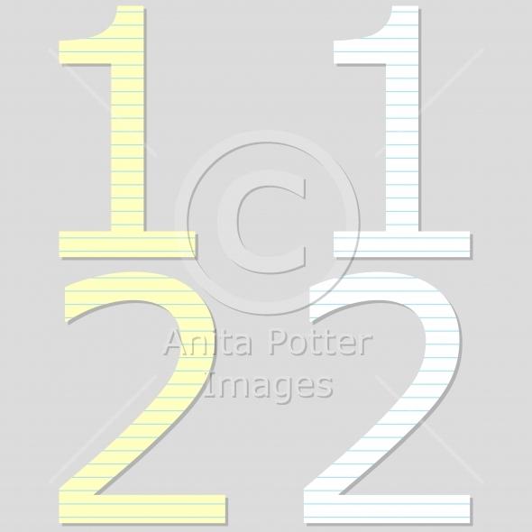 Paper Font Set Numbers 1 and 2