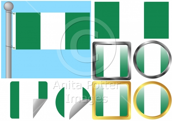 Flag Set Nigeria