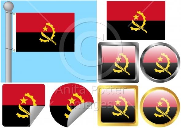 Flag Set Angola