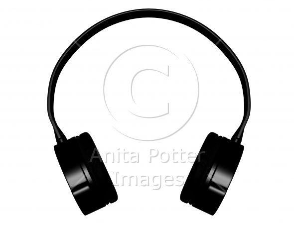 3d Render of Black Headphones Isolated on White