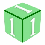 3d Font Cube Number 1