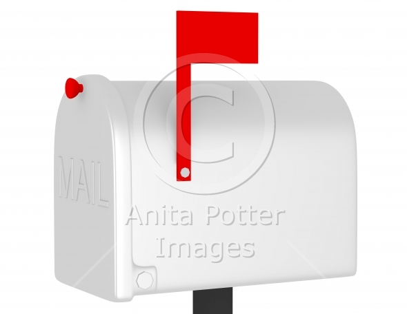 3d Render of a Closed Mail Box with the Flag Up