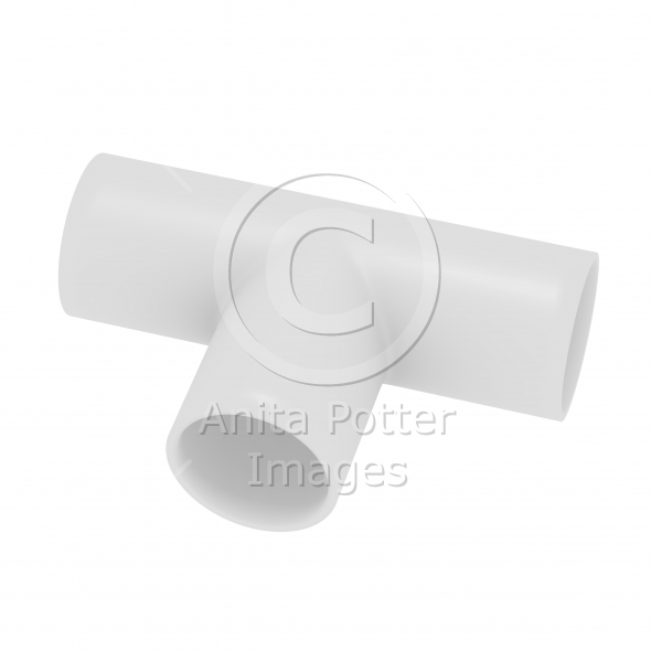 3d Render of a PVC T Joint Pipe