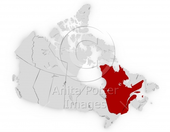 3d Render of Canada Highlighting Quebec