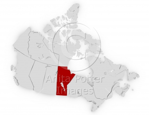 3d Render of Canada Highlighting Manitoba