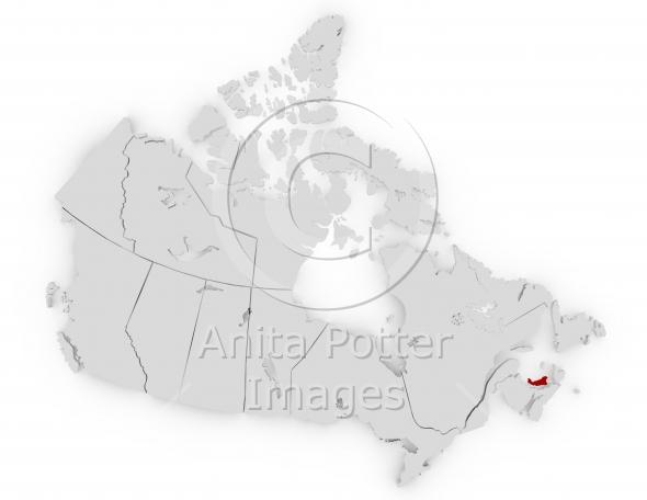 3d Render of Canada Prince Edward Island