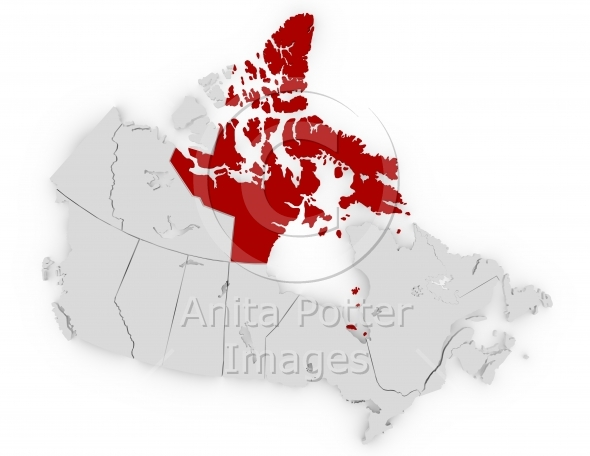 3d Render of Canada Highlighting Nunavut