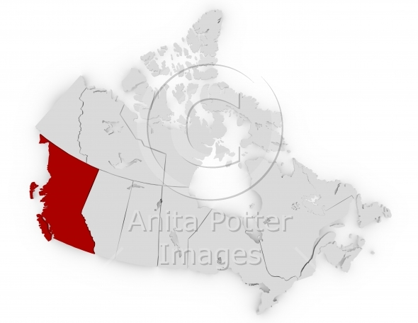 3d Render Canada Highlighting British Columbia
