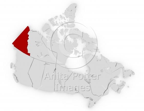 3d Render of Canada Highlighting Yukon