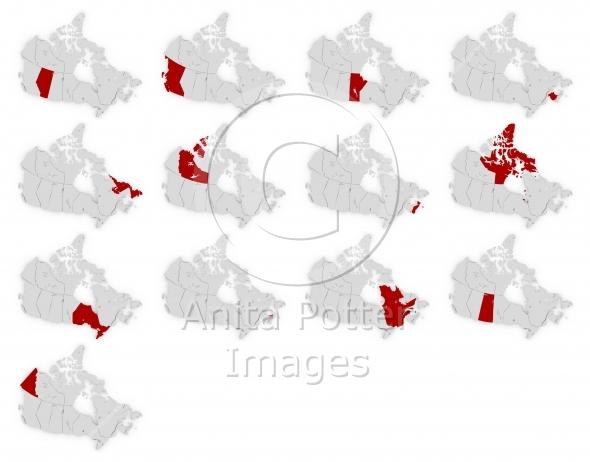 3d Render Set of Canada