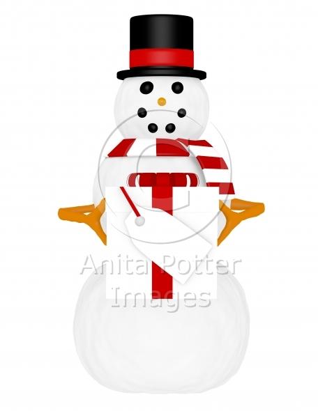 3d Render of a Snowman Holding a Present