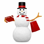 3d Render of a Snowman With a Gift Card