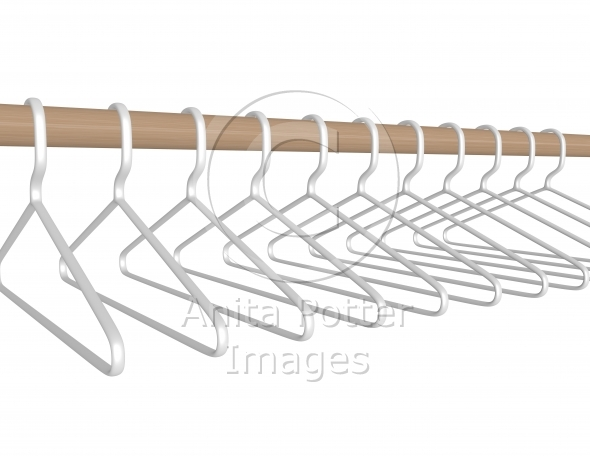 3d Render Plastic Hangers Hanging on a Rod