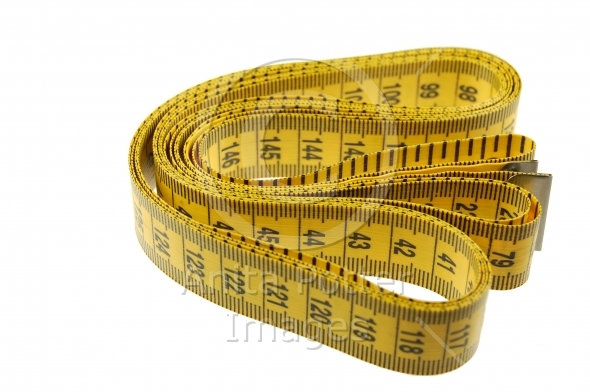 A Seamstress Tailors Measuring Tape Isolated on White