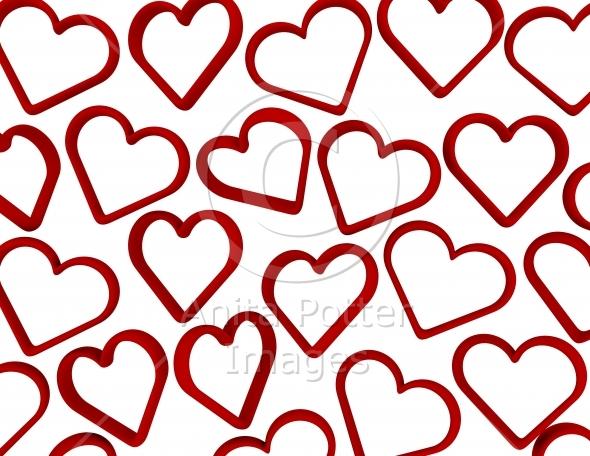 3d Render Falling Hearts