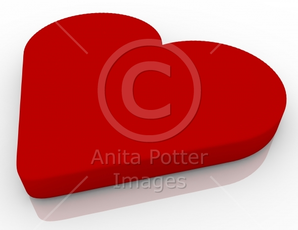 3d Render of a Heart Reflecting on White
